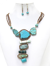 3 LAYER SEEDBEADS WIRE WRAPPED TURQUOISE STONES NECKLACE SET