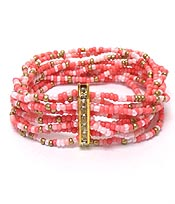 MULTI LAYER SEEDBEADS CRYSTALS BAR BRACELET