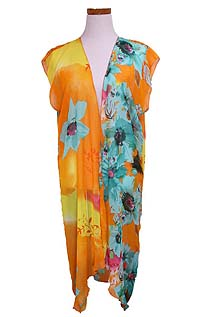 FLORAL OPEN LONG BEACH CARDIGAN COVER UP