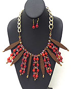 MULTI WOODEN BARS AND SEMI PRECIOUS STONE BALLS WITH CRYSTAL GLASS PATERN CHAIN NECKLACE EARRING SET