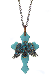 ANTIQUE BRONZE CRYSTAL BIRD ON TURQUOISE CROSS LONG NECKLACE