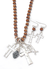 MULTI CROSS PENDANT WOOD BEAD LONG NECKLACE SET