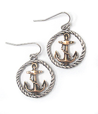 ANCHOR AND ROPE HOOP EARRING