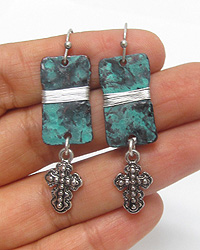 PATINA PLATE AND CROSS DROP EARRING