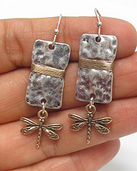 ANTIQUE SILVER PLATE AND DRAGONFLY DROP EARRING