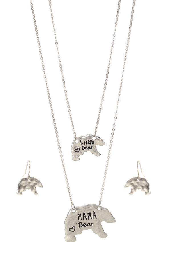 MAMA AND LITTLE BEAR TWO NECKLACE SET