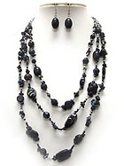 MULTI ACRYLIC AND WOODEN BEAD AND CHIP STONE 3 LAYERED NECKLACE EARRING SET