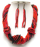 MULTI STRAND SEED BEADS BRAIDED NECKLACE EARRING SET