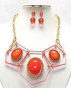 ARCHITECTURAL ACRYLIC BOAED AND STONE DECO LINK NECKLACE EARRING SET