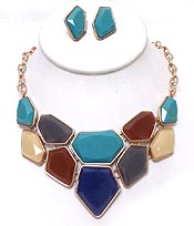 MULTI SHAPE LINKED STONES NECKLACE SET