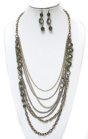 MULTI ROW FACET GLASS BEADS AND METAL CHAIN MIX LONG NECKLACE EARRING SET