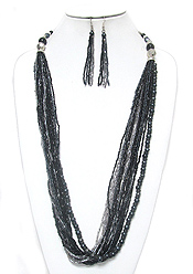 MULTI LAYER SEED BEADS CHAIN MIX NECKLACE EARRING SET