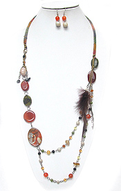 NATURAL STONE AND FEATHER LONG NECKLACE SET