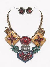 BOUTIQUE LUXURY ACRYL ART AND CRYSTAL STATEMENT NECKLACE EARRING SET