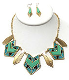 SEED BEAD AND TEXTURED METAL ARROWHEAD AZTEC STYLE NECKLACE EARRING SET