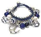 NAUTICA ANCHOR CHARM AND BALL DANGLE TIE BACK BRACELET