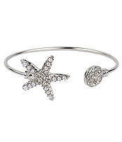 CRYSTAL AND PEARL STARFISH WIRE BANGLE BRACELET
