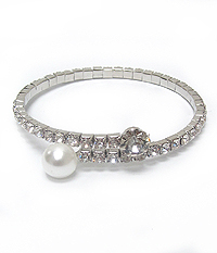 GLASS STONE AND PEARL WRAP AROUND BRACELET