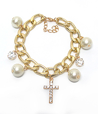CROSS AND PEARL CHARM BRACELET