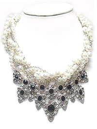 LUXURY CHUNKY CRYSTAL AND BRAIDED PEARL STATEMENT NECKLACE