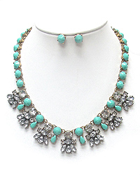 CRYSTAL FLOWER AND TURQUOISE CHAIN NECKLACE SET