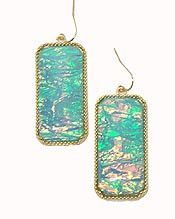 SOUTHERN STYLE OPALIC RECTANGLE FISH HOOK EARRINGS