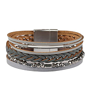MULTI LAYER LEATHER AND GLASS BEAD CHAIN MAGNETIC BRACELET