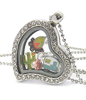 ORIGAMI STYLE FLOATING CHARM HEART LOCKET PENDANT NECKLACE - HAPPY CAMPER - LOCKET OPENS AND CHARMS INCLUDED