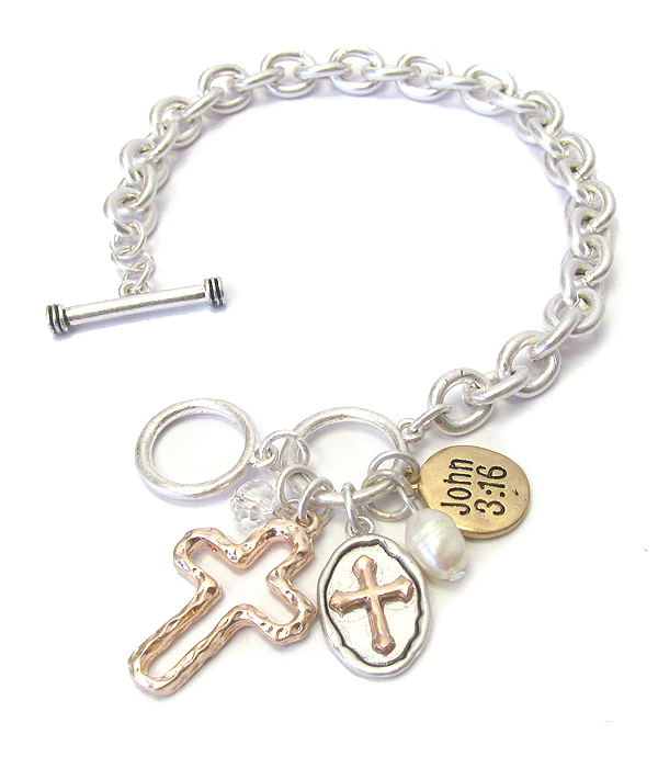 RELIGIOUS INSPIRATION CHARM AND TOGGLE chain BRACELET - JOHN 3:16