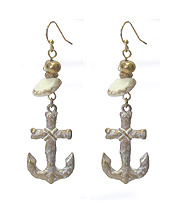 SEMI PRECIOUS STONE AND ANCHOR EARRING
