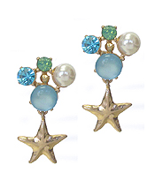 MULTI STONE AND STARFISH EARRING