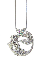WHITEGOLD PLATING CRYSTAL MERMAID PENDANT NECKLACE