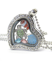 ORIGAMI STYLE FLOATING CHARM HEART LOCKET PENDANT NECKLACE - SEA LIFE - LOCKET OPENS AND CHARMS INCLUDED