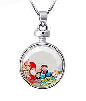 PERFUME BOTTLE GLASS AND FLOATING CRYSTAL PENDANT NECKLACE - ROUND