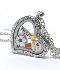 ORIGAMI STYLE FLOATING CHARM HEART LOCKET PENDANT NECKLACE - SOCCER MOM - LOCKET OPENS AND CHARMS INCLUDED
