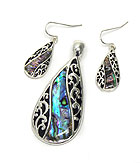 TAILORED DESIGN WITH ABALONE PENDANT SET