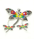 DRAGONFLY WITH ABALONE  MAGNETIC PENDANT SET