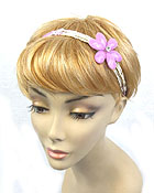 FIVE LAYER SEED BEADE W/ COLOR FLOWER STRETCH HEAD BAND