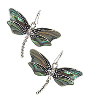 MARCASITE TEXTURE W/ABALONE AND STONES DRAGONFLY HOOK EARRINGS