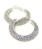 THREE LAYER RHINESTONES HOOP EARRINGS