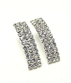 THREE ROWS RHINESTONE EARRINGS