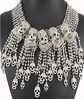CHUNKY CRYSTAL SKULL AND RHINESTONE LINE DROP STATEMENT NECKLACE