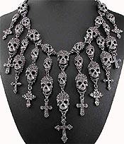 CHUNKY CRYSTAL SKULL AND CROSS CASCADE DROP STATEMENT NECKLACE