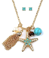 CRYSTAL STARFISH AND TASSEL NECKLACE SET