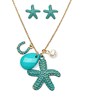 PATINA STARFISH AND HORSE SHOE CHARM NECKLACE SET