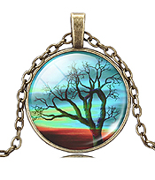ANTIQUE BRONZE LIFE OF TREE CABOCHON NECKLACE