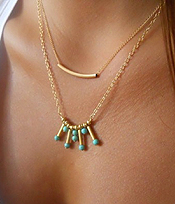 ETSY STYEL DOUBLE LAYER METAL TUBE AND TURQUOISE NECKLACE