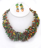 CHIP AND SEED BEADS CHUNKY NECKLACE SET