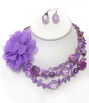 3 LAYER CHIP STONES FLOWER NECKLACE SET