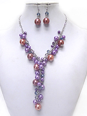 MULTI SIZE PEARL DROP CHAIN NECKLACE SET